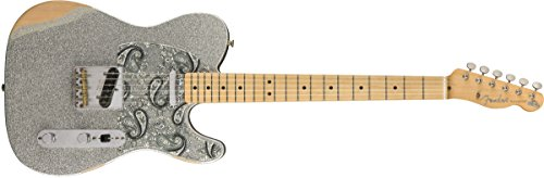 (Fender Brad Paisley Road Worn Telecaster Electric Guitar - Maple Fingerboard - Silver Sparkle)