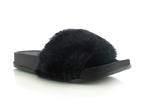 Womens Ladies Bow Floral Diamante Faux Fur Pom Pom Wide Strap Thick Comfy Sponge Platform Sole Slip On Slider Sandals Shoe Sizes 3-8 UK Black Faux Fur YAzllL