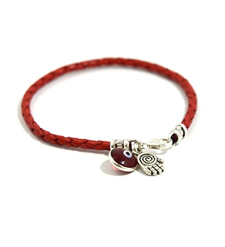 Spiral Hamsa for Protection in Sterling Silver on Red Braided Leather Bracelet - 7