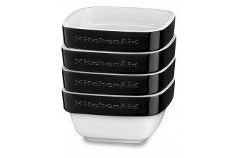 KitchenAid KBLR04RMOB 4 Piece Ceramic Ramekin Bakeware Set, Onyx Black