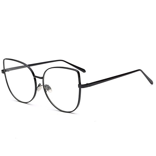 Pro Acme Oversized Cat Eye Gold Clear Lens Glasses Frame Vintage Eyeglasses Women (Black Frame/Clear Lens)