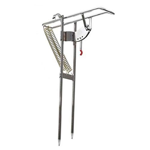 HEART SPEAKER Automatic Stainless Steel Fishing Rod Mount Stand Double Spring Holder Tool ()