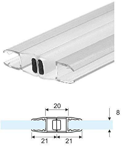 2, 20 mt -Guarnizione box doccia trasparente magnetica vetro 8mm (coppia) Glass Com S.r.l.