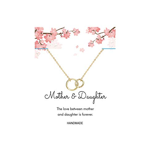 Gold Mother and Daughter Necklace,14K Gold Filled Dainty Generation Jewelry