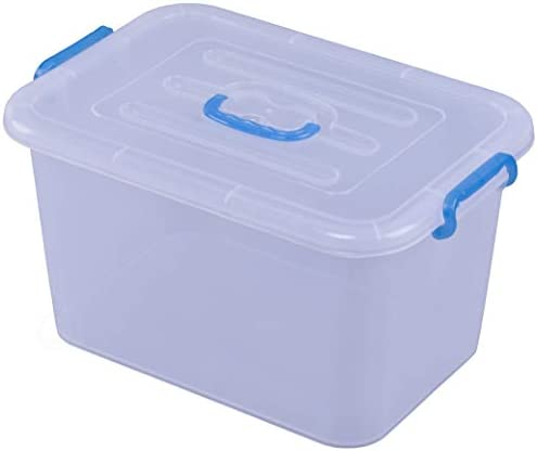 Basicwise QI003488.6 Large Clear Storage Container with Lid and Handles, Set of 6