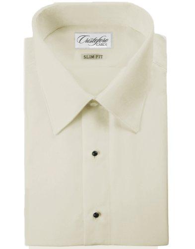 Cardi Men's Microfiber Slimfit Laydown Collar Tuxedo Shirt, Ivory, 16/16.5-36/37 Microfiber Tuxedo Shirt