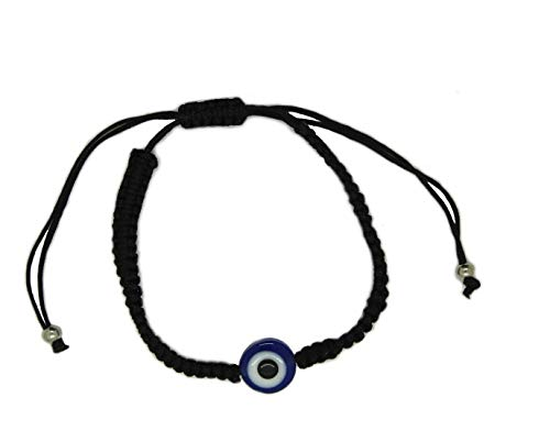 BT Weaved String Contemporary Kabbalah Bracelet with Blue Evil Eye for Protection and Blessing (Black) ()