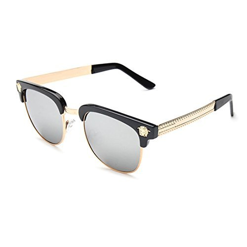 LIKEOY Men Half Frame Horn Rimmed Glasses UV400 Retro Sunglasses - Cheap Sunglasses Shopping Online India