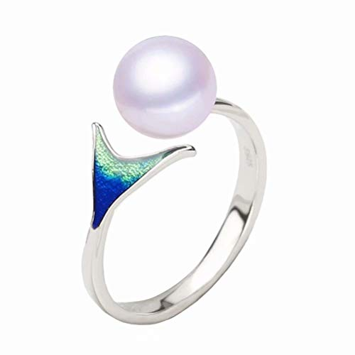 Presentski 925 Sterling Silver Mermaid Pearl Ring for Women Fashion Women Jewelry