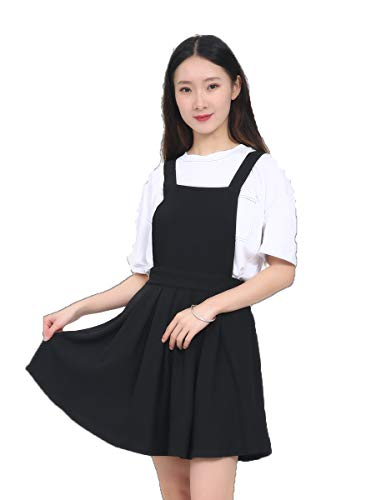 ASMAX HaoDuoYi Womens Classic Overall Suspender A Line Pleated Mini Dress Black