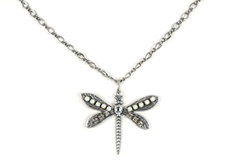 Clara Beau Elegant WhiteOpal Medium Dragonfly Swarovski crystal Delicate Chain SilverTone Necklace (Homemade Insect Costumes)