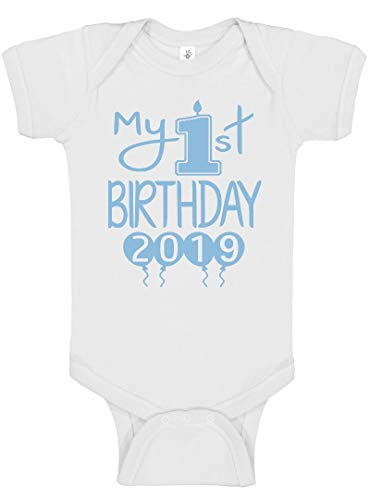Reaxion Aidens Corner Handmade 1st Birthday Baby Clothes - Baby Boys My First Birthday Bodysuits and Shirts (18 Months, 2019 Lt Blue White)