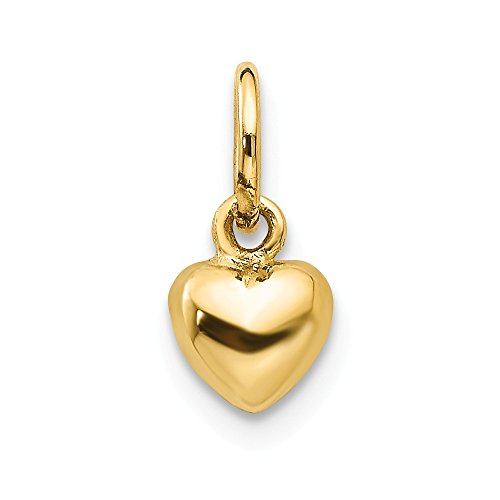 (14k Yellow Gold 3 D Heart Pendant Charm Necklace Love Puffed Fine Jewelry Gifts For Women For Her)