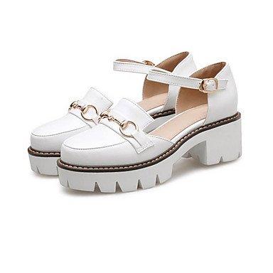 LvYuan-ggx Damen High Heels Komfort PU Sommer Normal Komfort Weiß Schwarz 7,5 - 9,5 cm white