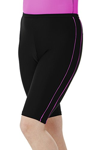 HydroChic Women's Plus Size Swim Shorts – Chlorine Proof Long Shorts Great for Biking and Water Exercises – Black/Violet, 2X