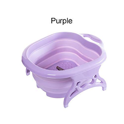 Janedream Collapsible Foot Tub Portable Foldable Feet Relax Spa Massage Large Heightening Footbath Folding Barrel Outdoors Camping Purple ()