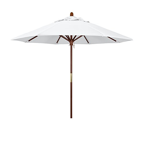 (California Umbrella 9' Round Hardwood Frame Market Umbrella, Stainless Steel Hardware, Push Open, White)