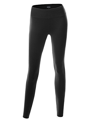 Doublju Women Comfortable Colorful Yoga Pants BLACK,L