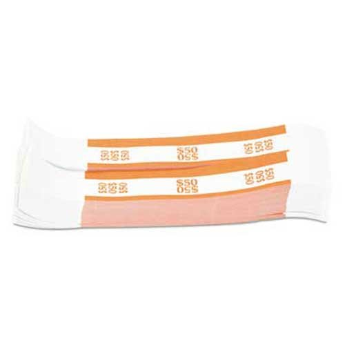 Coin-Tainer Currency Straps, Orange, 50 in Dollar Bills, 1000 Bands/Pack