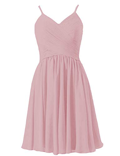 (EDressy Short Bridesmaid Dresses Chiffon Homecoming Party Dress Prom Gowns Sleeveless Dusty Rose US 12)