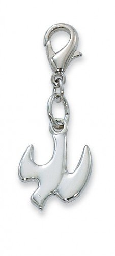 Price comparison product image Holy Spirit Dove Rhodium Silver 1 1/2-inch Clip On Pendant Charm