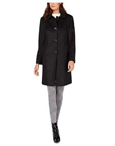 Anne Klein Women's Club-Collar Wool-Blend Walker Charcoal Grey Size 16