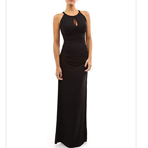 BBethun Robe Femme lgante Couleur Unie Jupe perle sans Manches lgante Robe (Color : Navy Blue Color, Size : XL) Black