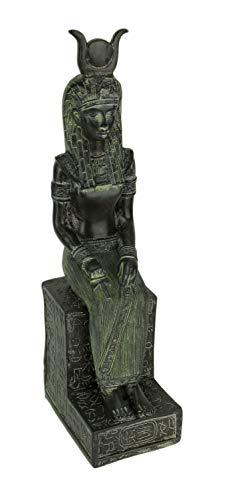 Dark Green Stone Finish Egyptian Goddess Isis Sitting On Throne Statue ()