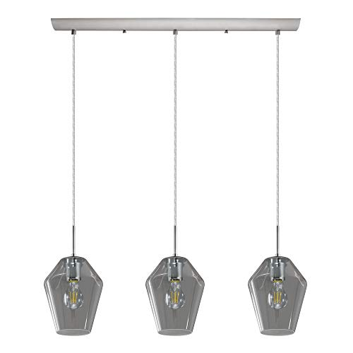 (Eglo 3x25W Multi Light Pendant w/matte nickel finish and smoked glass)
