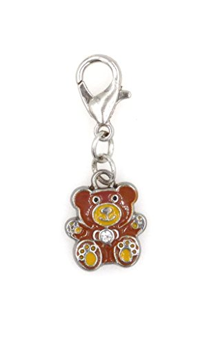 Stainless Steel Lobster Clasp with Mini Teddy Bear Clip On Charm (Mini Enamel Bear) SSCL 76Aj