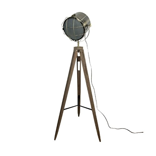 - Briskaari Store- Industrial Wind Floor Lamp American LED Photography Projection Lamp Retro Solid Wood Living Room LOFT Tripod Searchlight