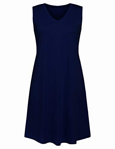 Ivicoer Women Summer Plus Size V Neck Sleeveless Floral Printed Tank Dress with Pocket(L-4XL) (4XL, Navy Blue)