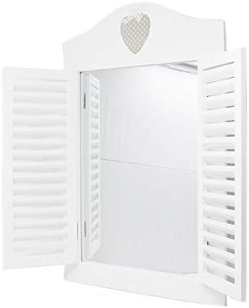 Vetrineinrete/® Specchio a Finestra da Parete in Legno Bianco Stile Shabby Chic sportello con Doppia Anta richiudibile Arredamento casa 66608