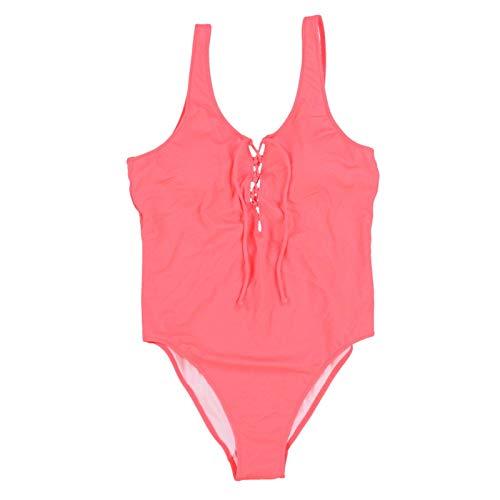 Victoria's Secret Pink Lace-Up Front One Piece Swim Suit Color Pink/Coral Medium NWT