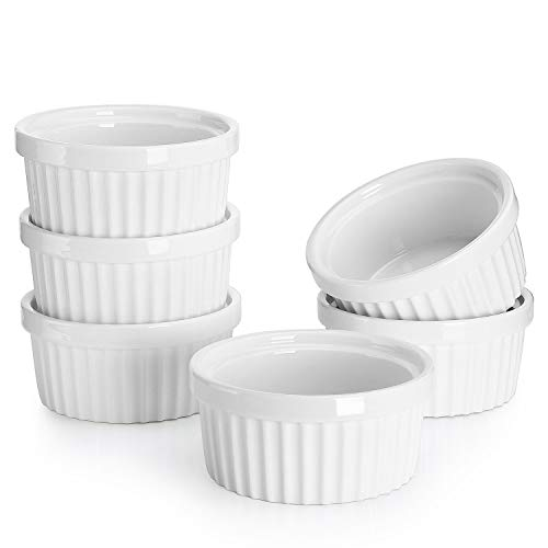 Sweese 502.001 Porcelain Souffle Dishes, Ramekins - 4 Ounce for Souffle, Creme Brulee and Dipping Sauces - Set of 6, White