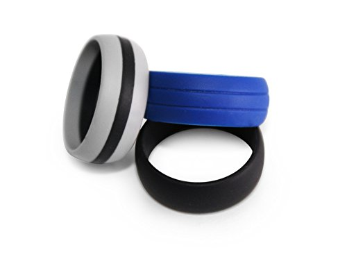 Silicone Wedding Ring -Moxie Rings Men's Silicone Wedding Band- Extremely Comfortable - Premium Silicone Rings For An Active Lifestyle - 3 Pack - Black - Navy - Gray w/Black Stripe (9)