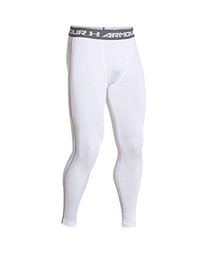 Under Armour Men's HeatGear Armour Compression Leggings, White /Graphite, Small by Under Armour (Image #3)