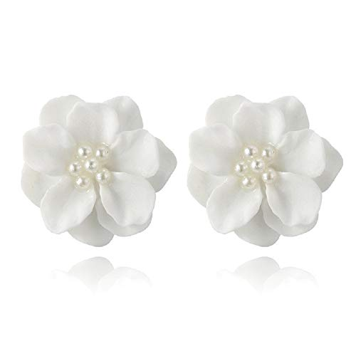 te Flower Pearl Pendant Circle Stud Earrings Fashion Design ()