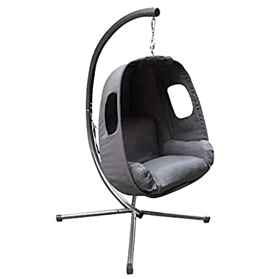 Grey Hanging Egg Chair With Stand