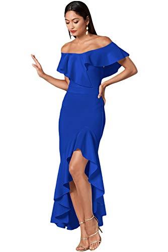 Blue spalle arricciato a Abito donna con da scoperte Houjibofa sirena w6FgqnOx6U