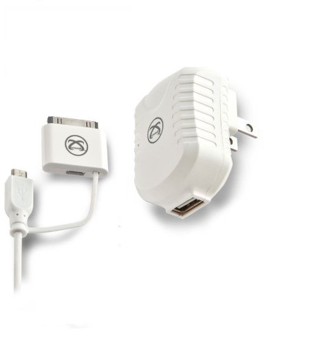 Symtek TP-MFI-350 Licensed USB AC Charger with 30-Pin Cable for Android Devices, White by Symtek