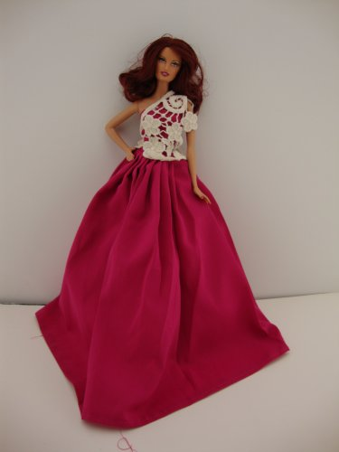 Hot Pink Gown with Lace One Shoulder Detail Made to Fit the Barbie Doll, Baby & Kids Zone