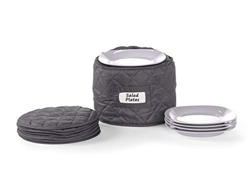 Covermates – Round Salad Plates Storage 9 DIAMETER x 7H – Diamond Collection – 2 YR Warranty – Year Around Protection - Slate
