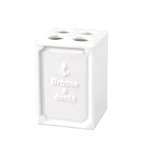 Time Concept Francais Marine Brosse a dents Toothbrush Stand - White Ceramic Bathroom Essential