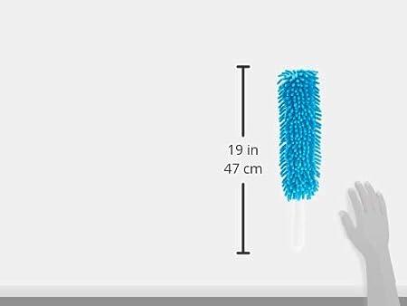 Basics Plumero de chenilla 3 almohadillas azul y blanco