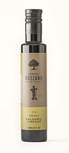 ORGANIC Fig Balsamic Vinegar - Bozzano Olive Ranch 8.5oz Bottle - SULFITE-FREE Organic Dark Balsamic Vinegar di Modena Italy | Great for salads and mixed with olive oils for dipping bread!