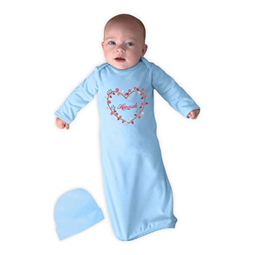 Personalized Custom Monogram Heart Cotton Long Sleeve Envelope Neck Boys-Girls Newborn Sleeping Gown One Piece - Light Blue, Gown & Hat Set