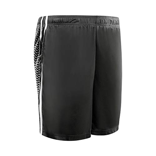 HQUEC Men's Mesh Basketball Shorts Cool Quick-Dry Gym Athletic Traning Short Design Activewear with Side Pockets Black L