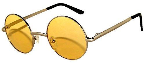 Round Retro Vintage Circle Style Sunglasses Yellow Lens Silver Metal Frame from OWL