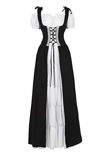 Haoaugut Womens Renaissance Medieval Irish Costume Over Dress Smocked Waist Retro Gown Cosplay White and Black S